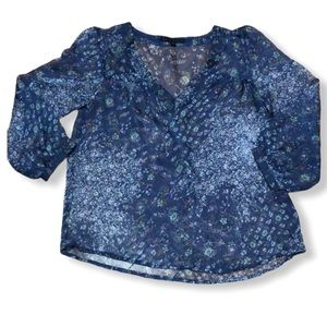 Lucca Couture Sheer Blue Floral Blouse Size M